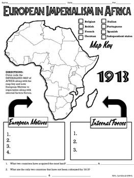 European Imperialism in Africa Map Handout | History | World