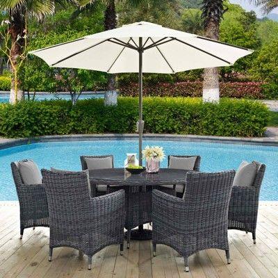 Summon 8pc Outdoor Dining Set With Sunbrella Fabric Gray