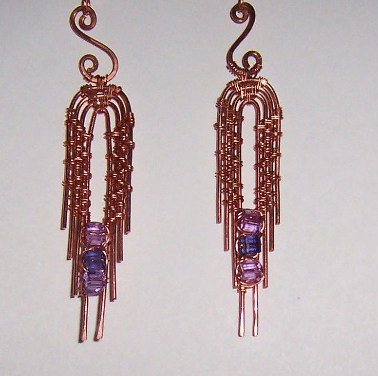 Copper Wire Woven Earrings with Cube Swarovski Crystals #Handmade ...