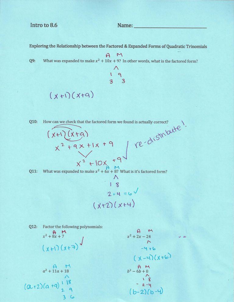 How i teach factoring trinomials teaching interactive