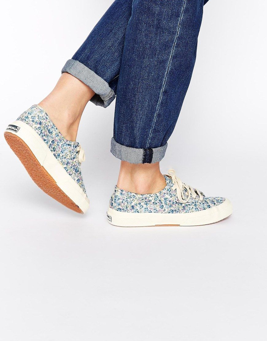retail prices buying cheap check out Superga Michael Blue Floral Liberty Print Trainers | Shoes ...