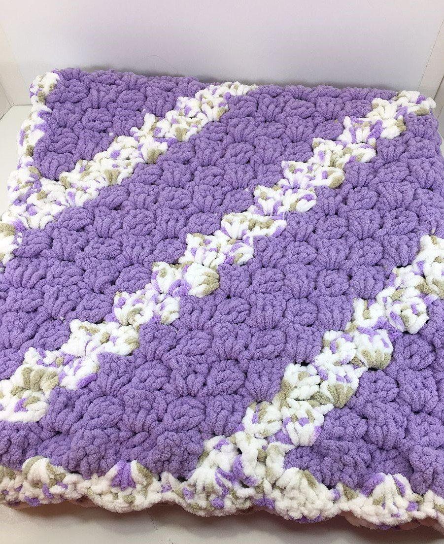 Corner to Corner Lilac Crochet Baby Blanket, Super Soft Big Bulky ...