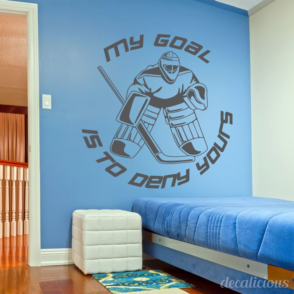 Goalie Hockey Wall Decal, Large Decal, Custom Name Decal, Boys Room,  Children