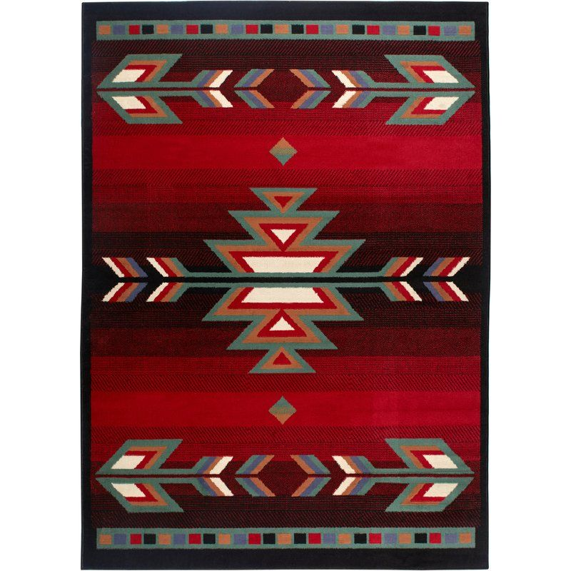 Hilander Southwestern Red Black Area Rug Southwest Area Rugs Area Rugs Black Area Rugs