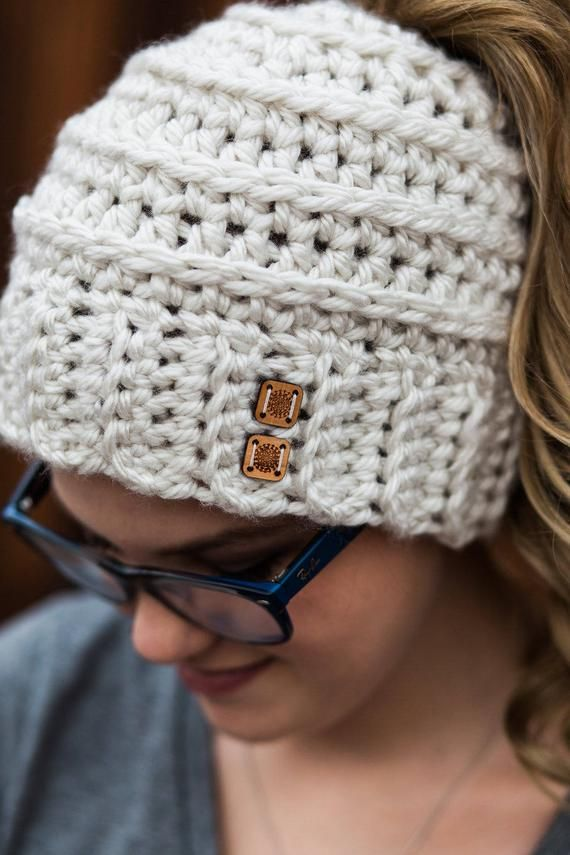 Messy Bun Hat CROCHET PATTERN - Bun Hat with Bow Pattern - Ponytail Hat Crochet Pattern - Striped Bu #messybunhat