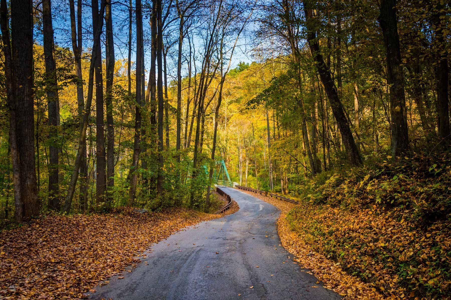 Autumn color and a country road in rural Baltimore County, Maryland ...