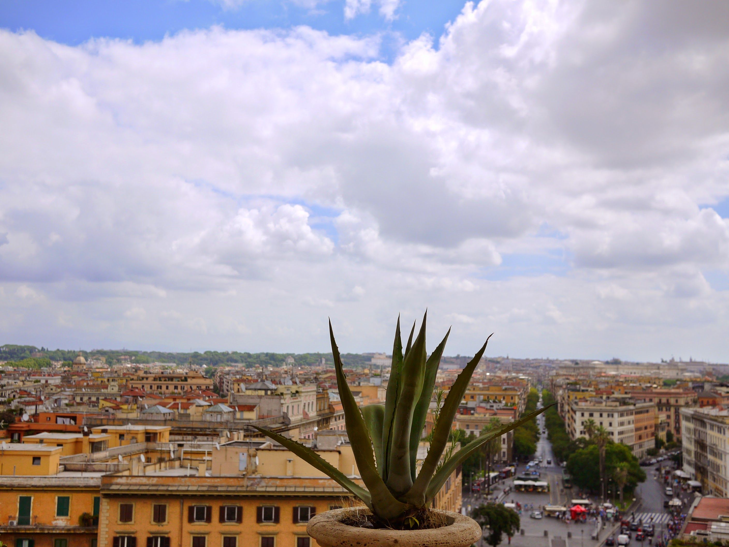 View from inside the Vatican Museums, looking out at Rome