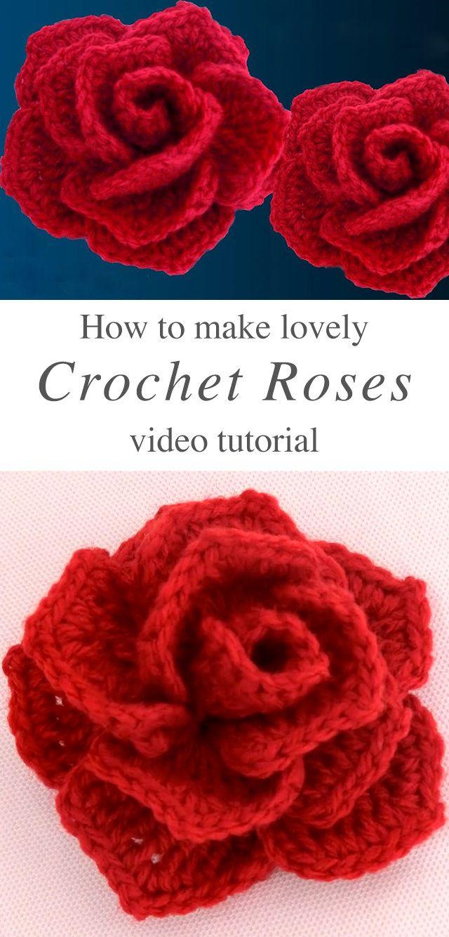 How To Crochet A Rose 3D Flower Easily #crochetflowers