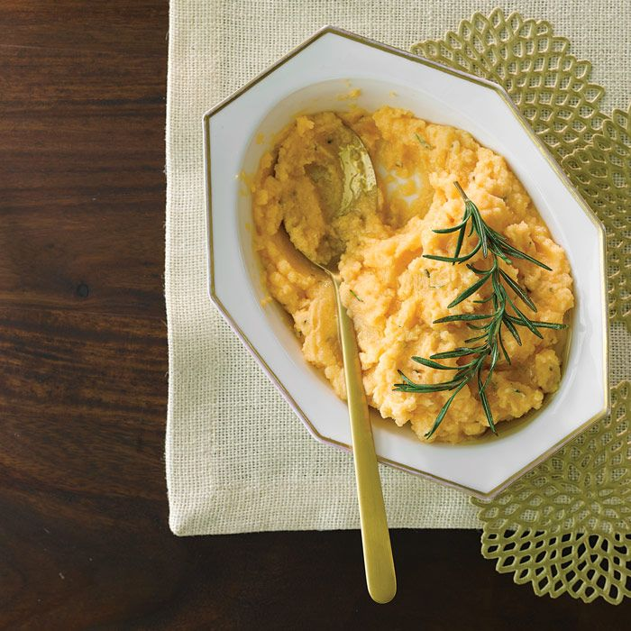 Buttery rutabaga and creamy goat cheese team up in this lower-carb Rutabaga Puree with Goat Cheese & Rosemary recipe that's an alternative to mashed potatoes for your Thanksgiving meal.