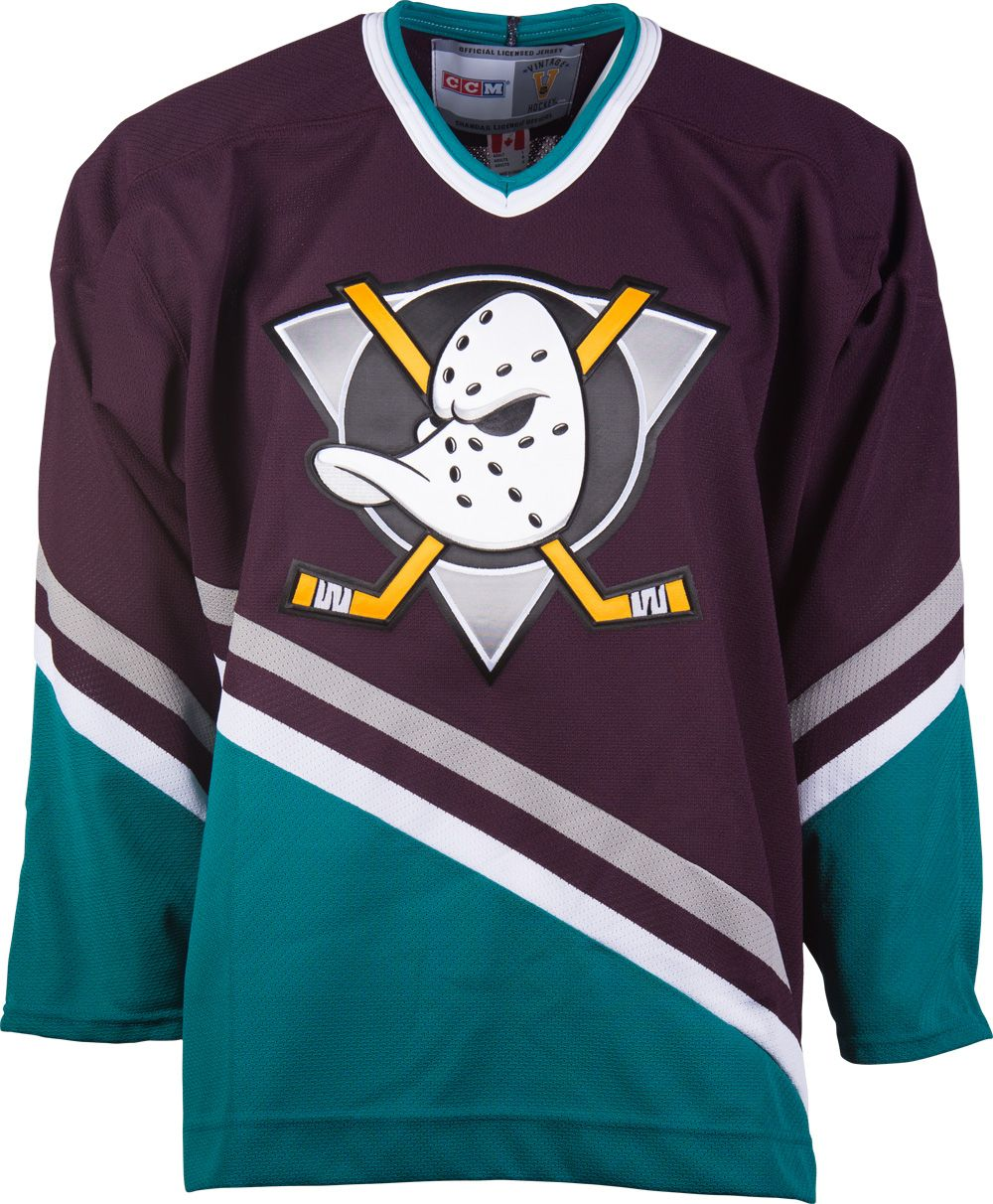 7852b6d6d864f7 Anaheim Mighty Ducks CCM Vintage 2006 Purple Replica NHL Hockey Jersey