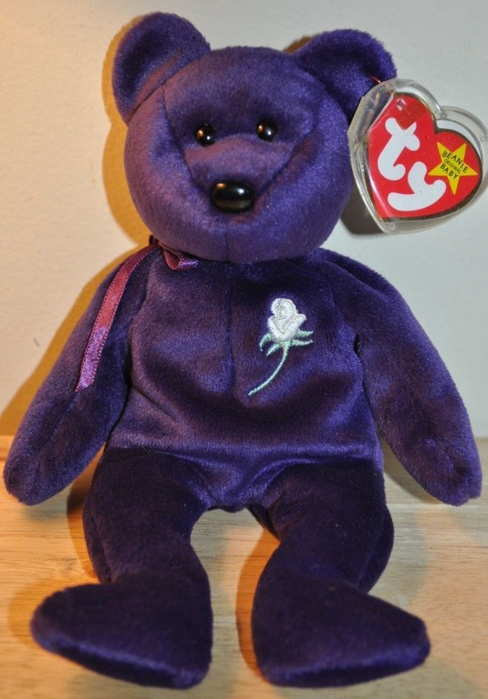 Ty Beanie Babies Original Princess Diana Bear Retired With Both