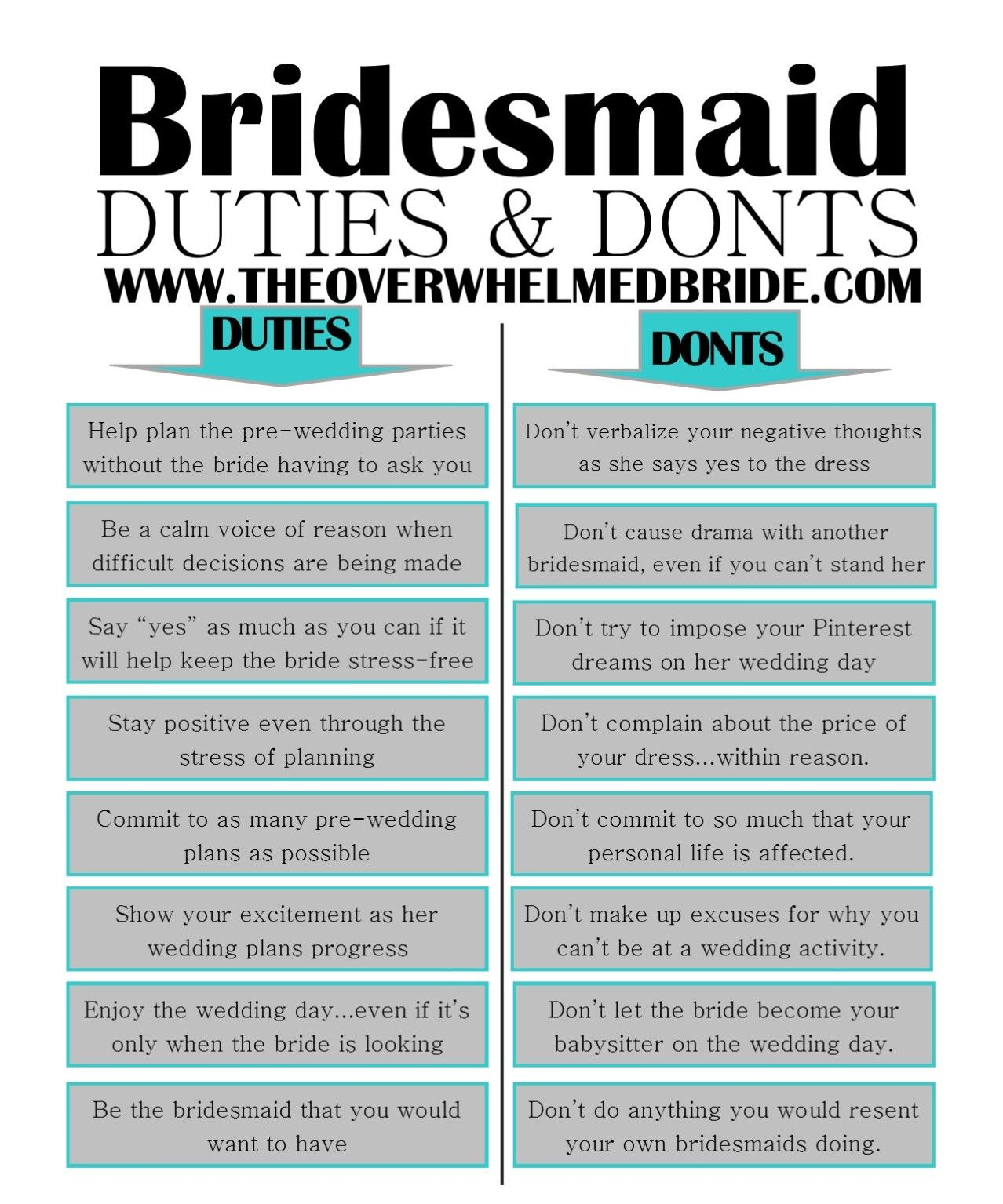 Bridesmaid Duties And Don'ts
