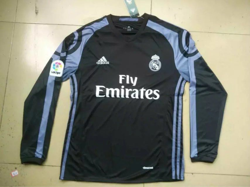 Real Madrid 16 17 Black Longsleeve Jersey Long Sleeve Tshirt Men Adidas Jacket Real Madrid