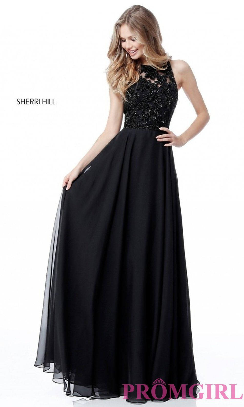 c4146911aa523 High-Neck Sleeveless Long Prom Dress by Sherri Hill