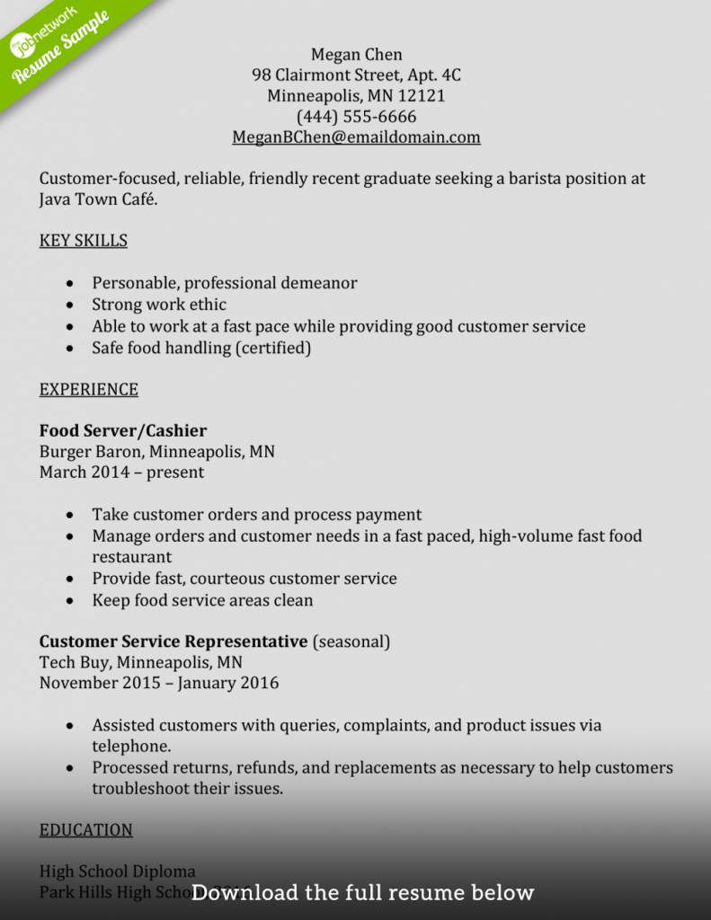 Starbucks Barista Job Description For Resume Inspirational