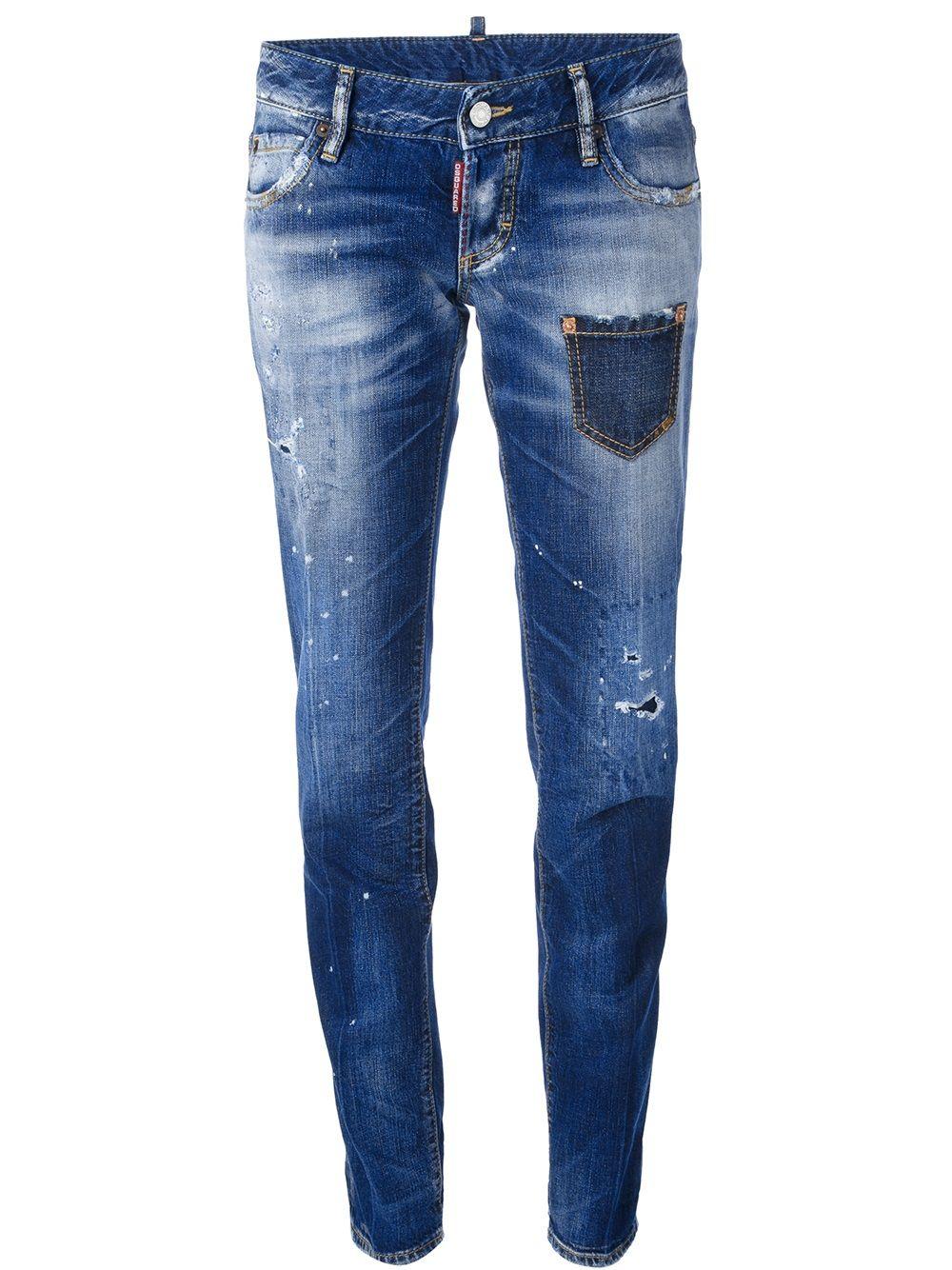 d0b1387b21a Dsquared2 Distressed Whiskering Jeans - Vitkac - Farfetch.com ...