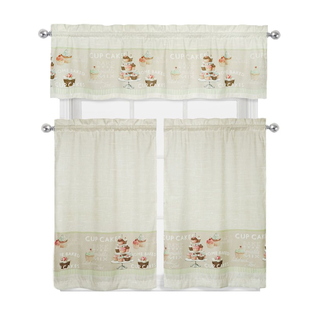 Details About Cupcakes 3 Pc Complete Kitchen Curtain Tier