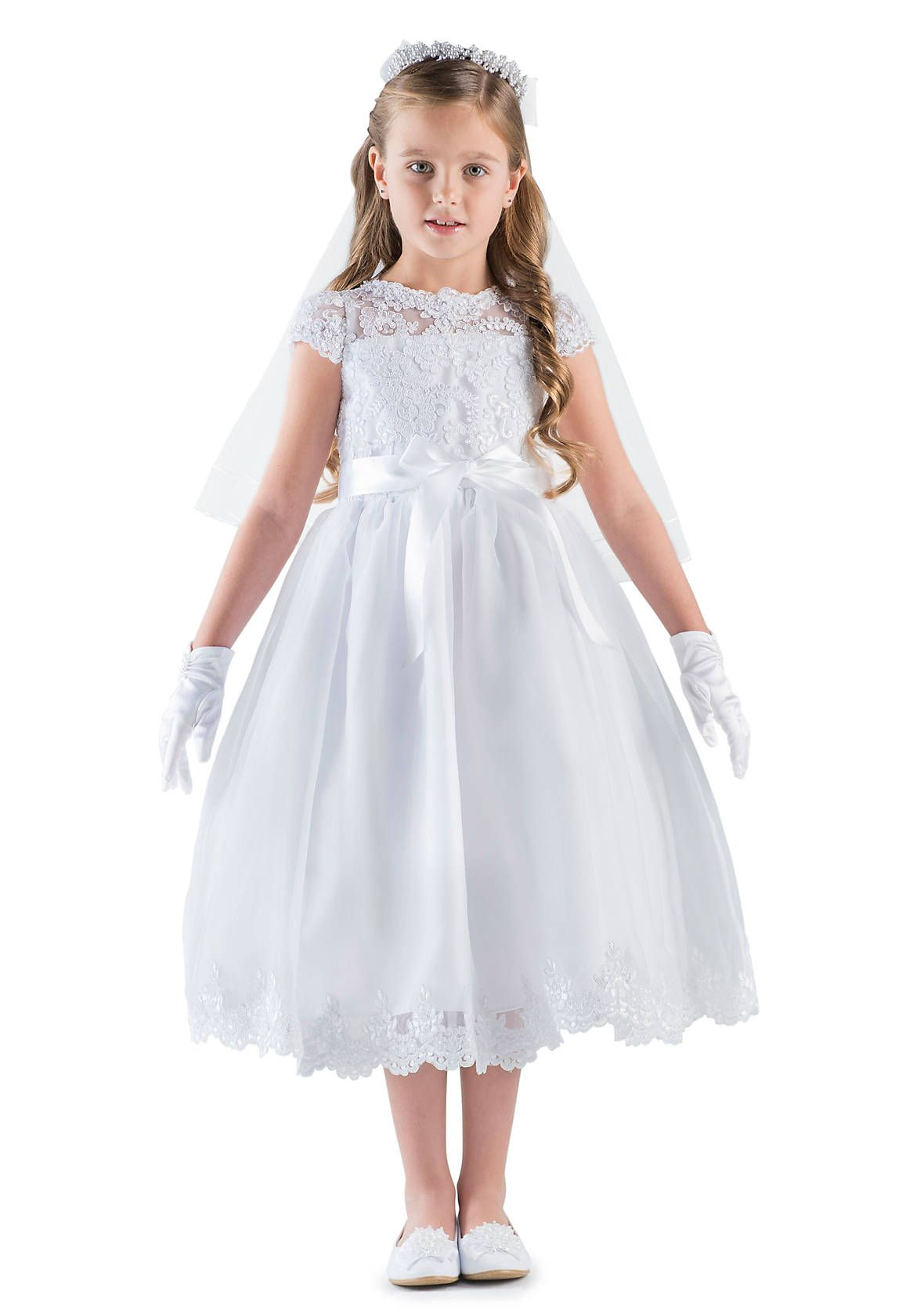 e15434145a Us Angels Lace And Organza Cap Sleeve Illusion Lace Bodice Communion Dress  With Full Skirt And Lace Hem- Girls 7-16