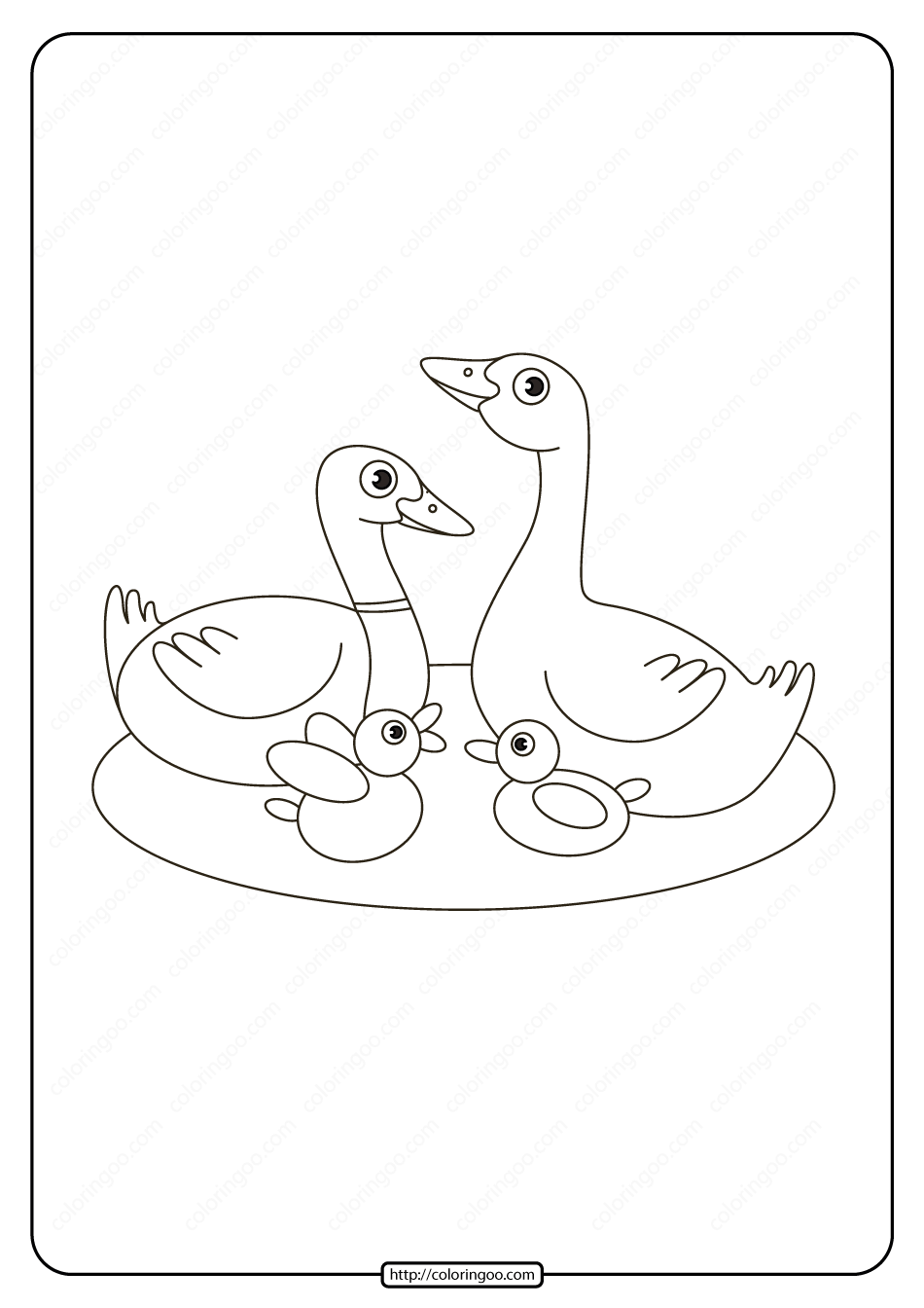 Printable Duck Family In The Lake Coloring Page Family Coloring Pages Family Coloring Coloring Pages