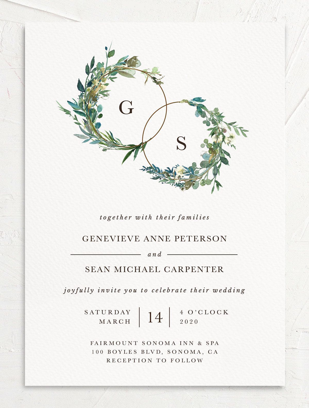 Leafy Hoops Modern Wedding Invitation With Greenery Engagement Invitation Cards Modern Wedding Invitations Floral Wedding Invitations