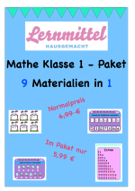 Mathe Klasse 1 Paket - 9 Materialien in 1 - Paket – Mathematik ...