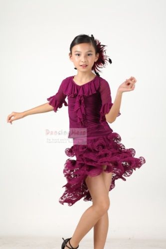 Childrens Latin Salsa Ballroom Dance Dress Girls Dancewear FY075 ...