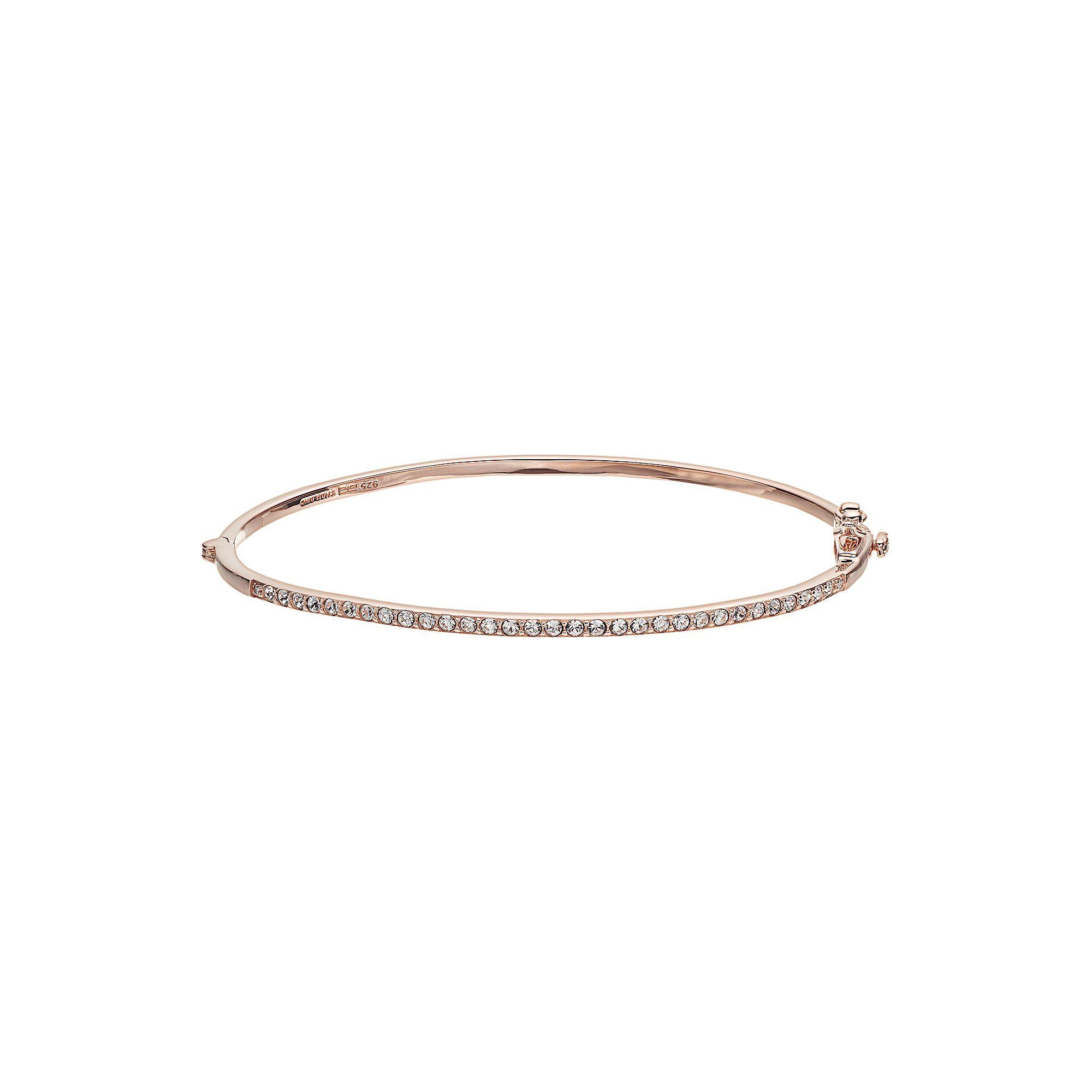 Diamond essence rose gold tone over silver bangle bracelet made