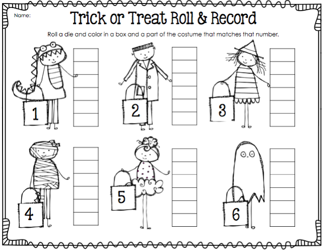 halloween roll and record first grade math games