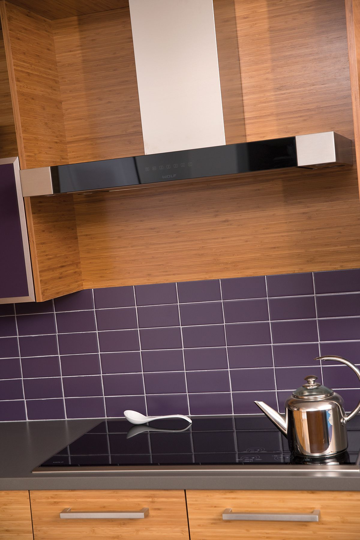Bamboo Backsplash Contemporary Kitchen Stovetop With Dura Supreme Bamboo