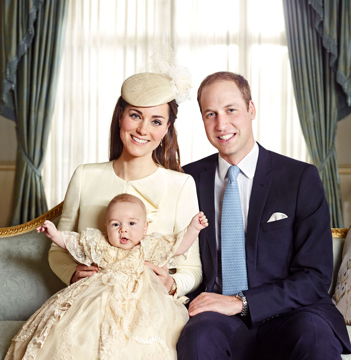 One day after the christening of baby Prince George, Kate Middleton and Prince William released four official portraits of the royal family Credit: Jason ...