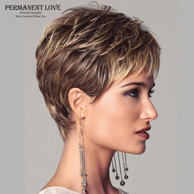 Mulheres perucas sintéticas curtas corte pixie penteado franja loira