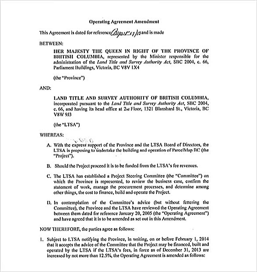 Operating Agreement Amendment   Operating Agreement Template