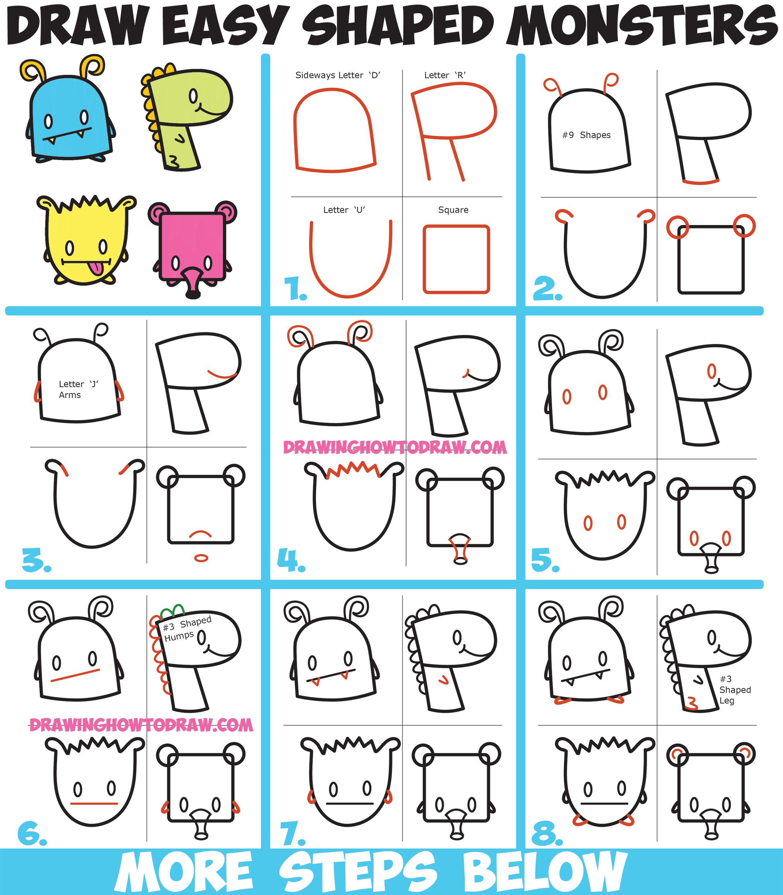 How To Draw Cute Cartoon Monsters From Simple Shapes Letters And Numbers For Kids How To Draw Step By Step Drawing Tutorials Cartoon Monsters Simple Cartoon Drawing Tutorials For Kids