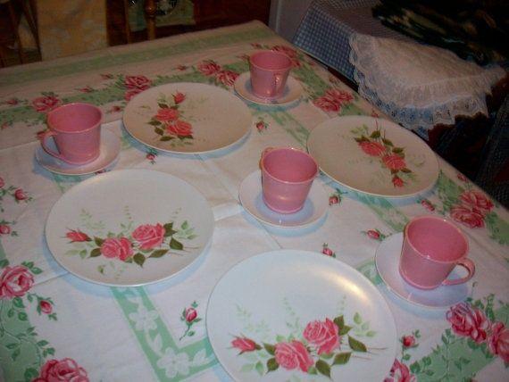 Vintage Melmac Roses Pink dishes dinnerware EX chic by raggedy10 $23 . & Vintage Melmac Roses Pink dishes dinnerware EX chic by raggedy10 ...
