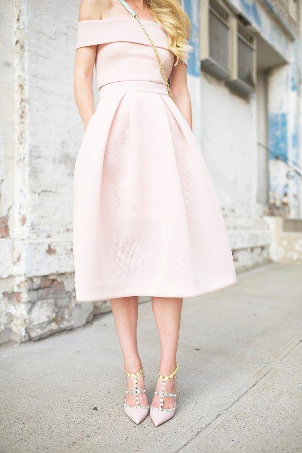 aa8ab37b8fda pale pink off the shoulder dress