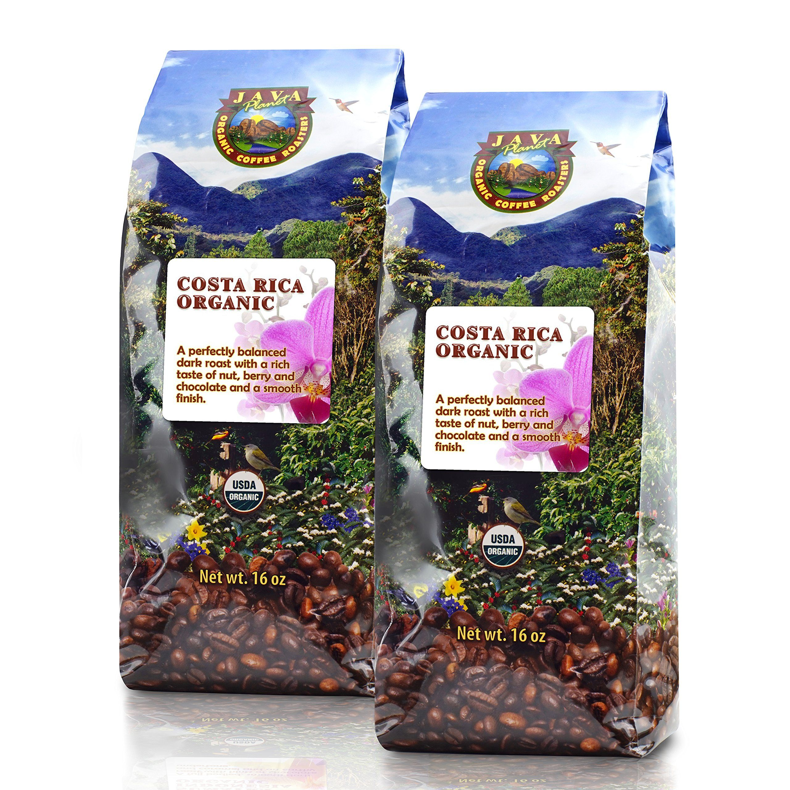 Java costa rican usda organic coffee beans dark