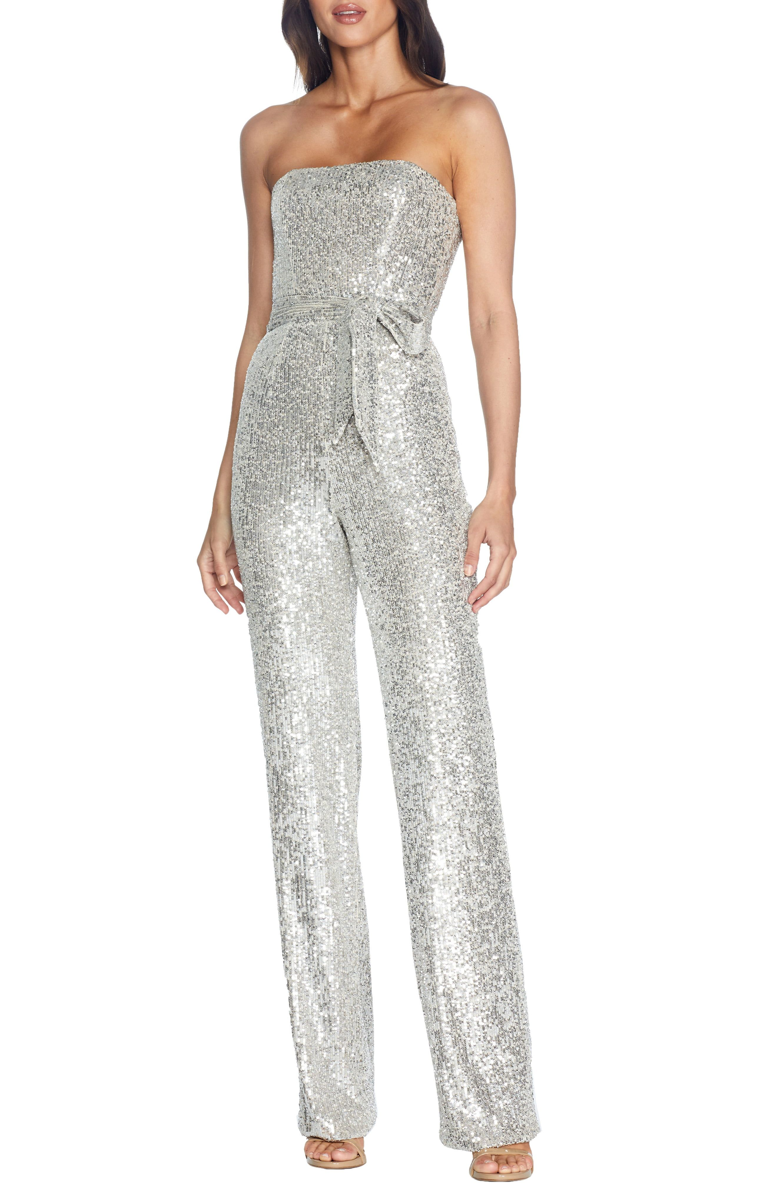 Dress The Population Andy Sequin Strapless Jumpsuit In 2020