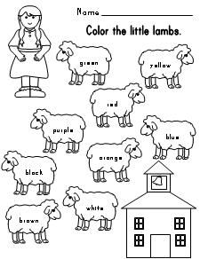 Mary Had A Little Lamb Color Words Sheet Nursery Rhymes