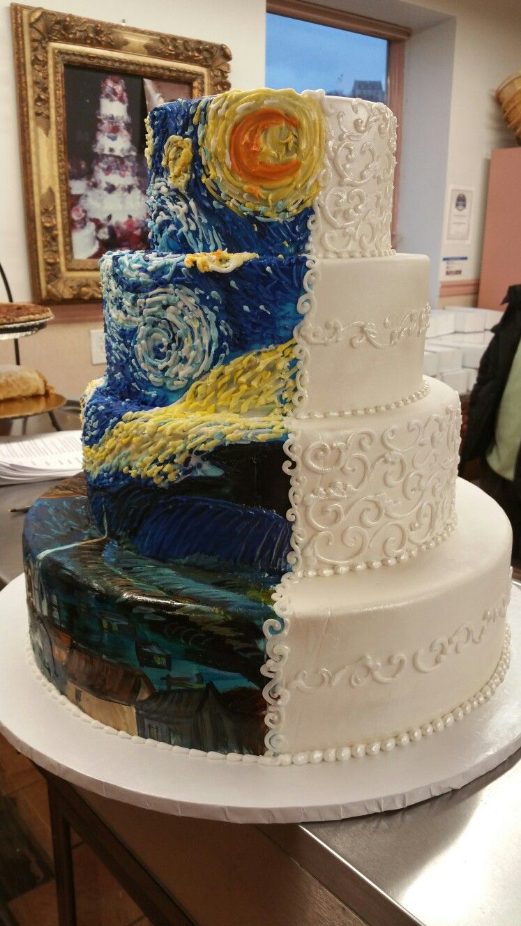 Half and half Van Gogh Starry Night Wedding cake. | I\'m no pro but I ...