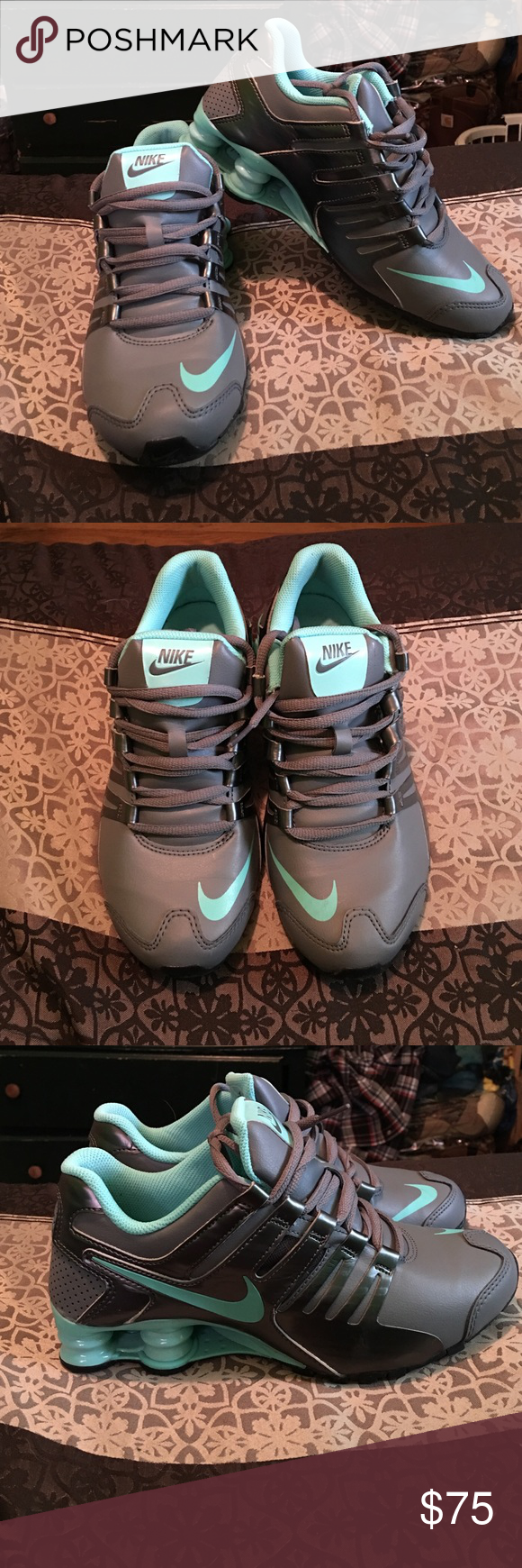 Nike Women's Grey/Silver/Turquoise Shox Size 6.5 women's Nike shox. These were a fantastic buy for me, but I am unable to wear them at work. Comfortable and true to size. Fit well. Nike Shoes Sneakers