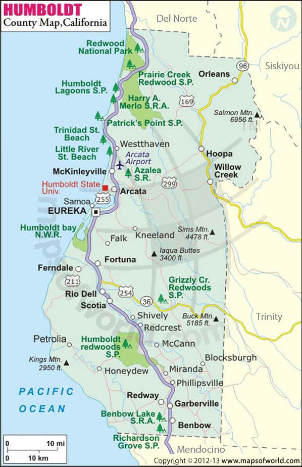 Humboldt County Map California Travel Road Trips Humboldt