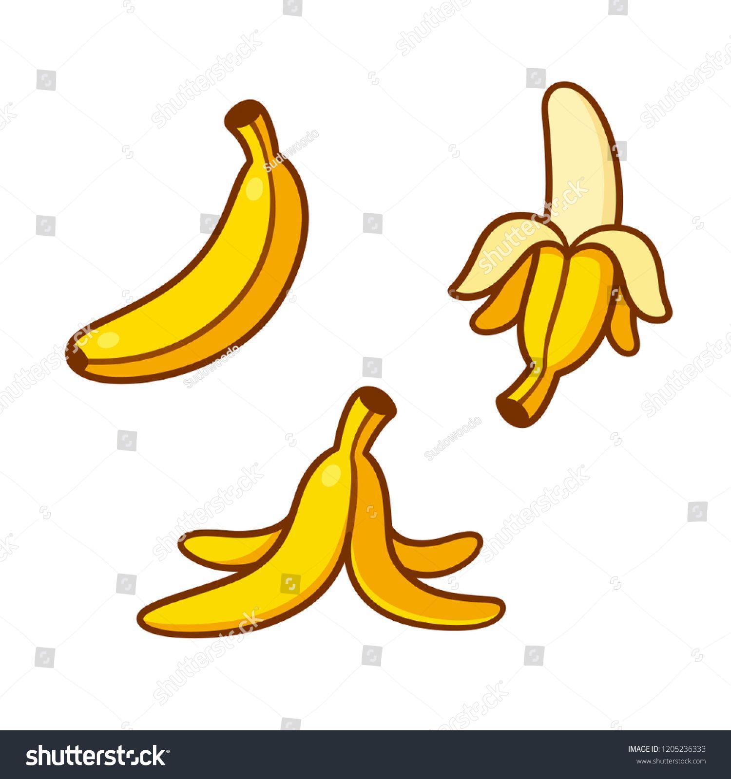 Set Of Cartoon Banana Drawings Single Peeled And Banana Peel On The Ground Vector Clip Art Illustration Collection Cartoon Banana Fruits Drawing Banana Art