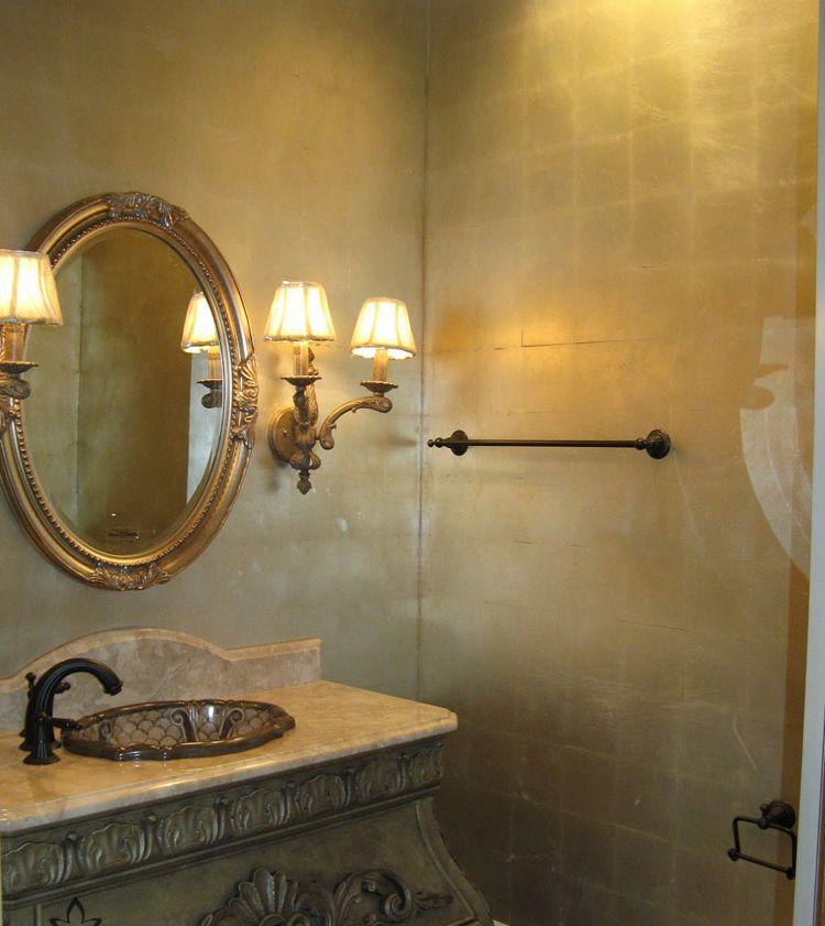 Metallische Wandgestaltung Wandfarbe Gold Bad Barock Vintage Metallic Wandfarbe Wandfarbe Gold Wandfarbe