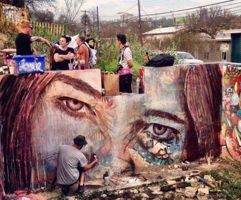 Rone Painting In Austin Texas On 3 21 15 Lp Street Art Graffiti Protest Art Street Graffiti