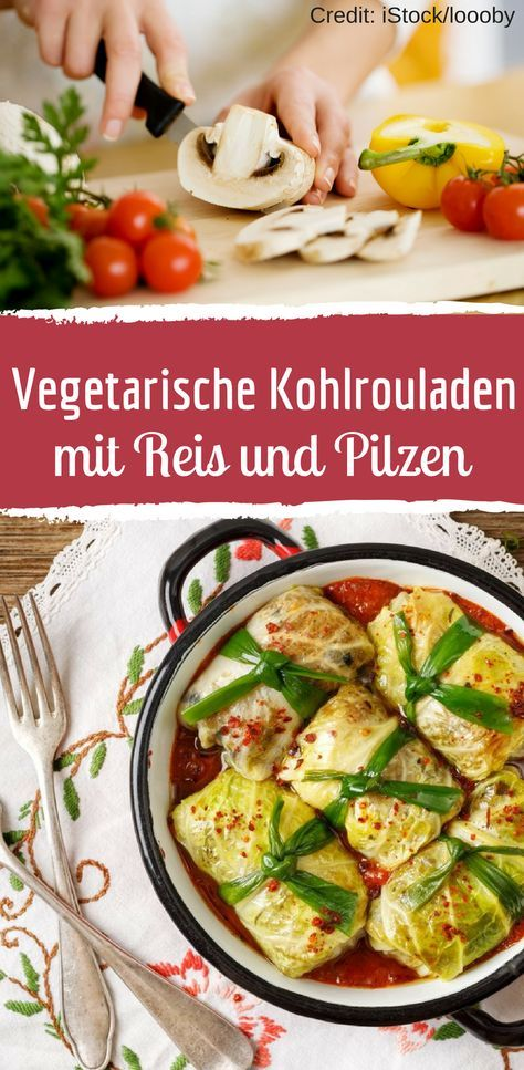 Vegetarische Kohlrouladen mit Reis und Pilzen #healthycrockpotchickenrecipes