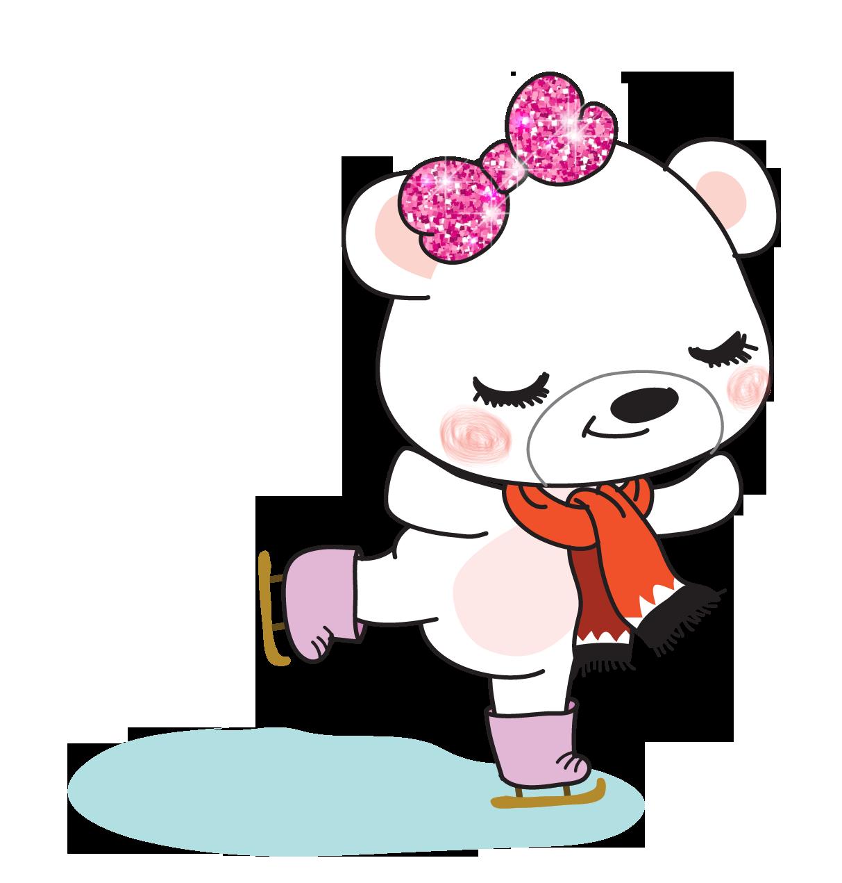 Boo Bear Ice Skate In 2021 Glossy Sticker Paper Sticker Paper Ice Skating