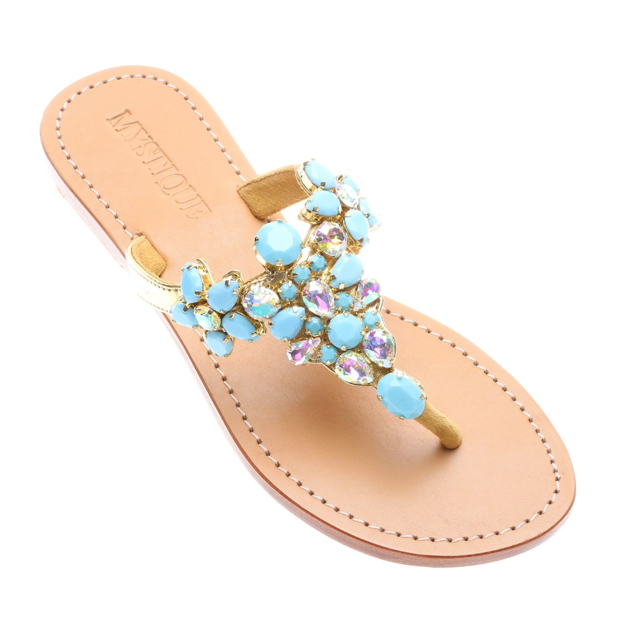 46c9fe16ee9c Marion- Women s Gold Turquoise Jeweled Thong Sandal