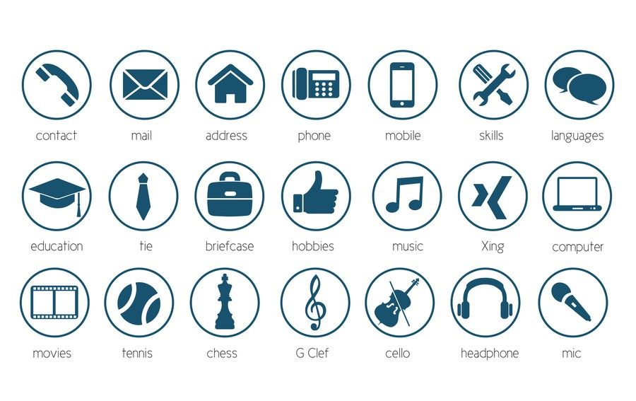 20 modern icons for personal cv    resume by mega effects u2122