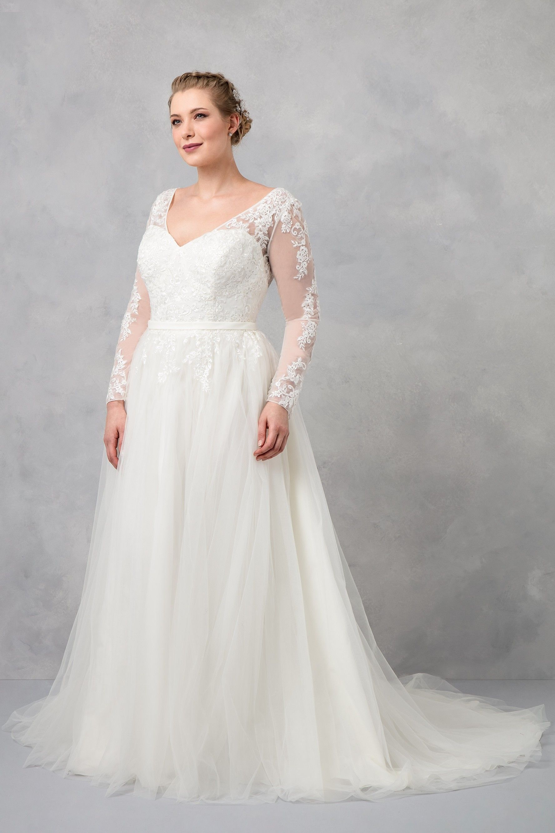 c8327c884aaf Plus Size Long Sleeve Wedding Dress With Low Back // Colour: Ivory //Style  No.: 9WG3831