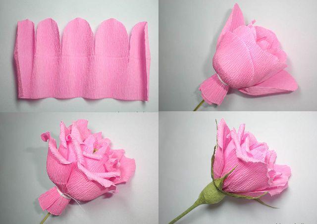 Цветы из бумаги роза из гофрированной бумаги